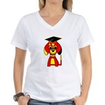 Red Beagle Dog Women's V-Neck T-Shirt