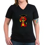 Red Beagle Dog Women's V-Neck Dark T-Shirt