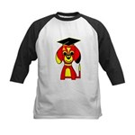 Red Beagle Dog Kids Baseball Jersey