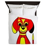 Red Beagle Dog Queen Duvet