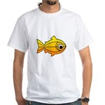 goldfish-yellow-background White T-Shirt
