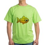 goldfish-yellow-background Green T-Shirt