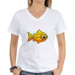 goldfish-yellow-background Women's V-Neck T-Sh