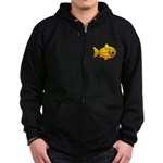 goldfish-yellow-background Zip Hoodie (dark)