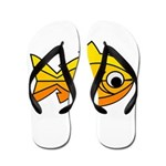 goldfish-yellow-background Flip Flops