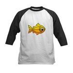 goldfish-yellow-background Kids Baseball Jerse