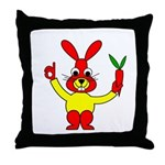 Bad Habit Rabbit Throw Pillow