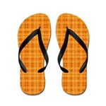 Orange and Yellow Plaid Flip Flops