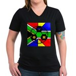 South Africa Women's V-Neck Dark T-Shirt