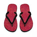 Orange Micro Dots on Grunge Red Flip Flops