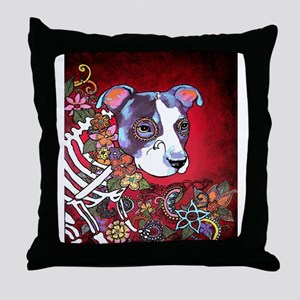 DiaLos Muertos dog Throw Pillow