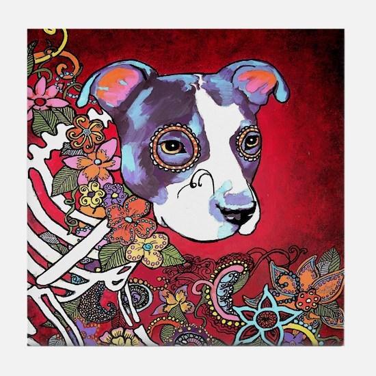 DiaLos Muertos dog Tile Coaster