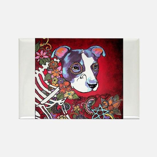 DiaLos Muertos dog Rectangle Magnet