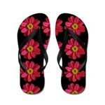 Pink and Yellow Flower on Black Flip Flops