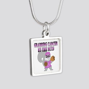 Grabbing cancer by the nuts Silver Square Necklace