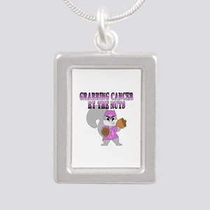Grabbing cancer by the nuts Silver Portrait Neckla