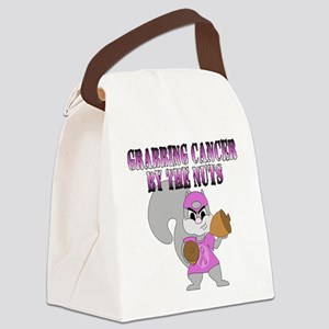 Grabbing cancer by the nuts Canvas Lunch Bag