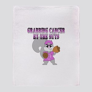 Grabbing cancer by the nuts Throw Blanket