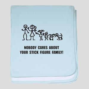 Anti Stick Figure Family baby blanket