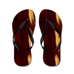 Red and Gold Smears Flip Flops