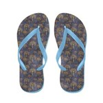 Red and Gold Trees on Grunge Blue Flip Flops