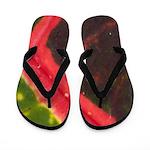 Red and Green Hawaiian Variegated Leaf Flip Flops