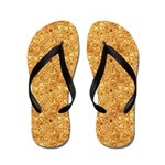 Red Bubbles on Gold Abstract Flip Flops