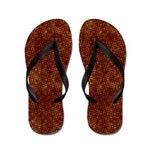 Red Circles and Squares on Gold Flip Flops
