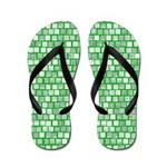 Shades of Green Squares Flip Flops
