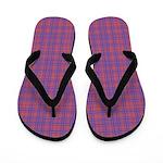 Vibrant Blue and Pink Plaid Flip Flops