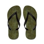 Xs and Os Pattern in Green Flip Flops