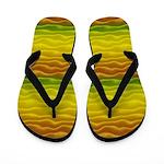 Yellow Orange and Green Sand Dunes Flip Flops