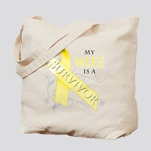 My Wife is a Survivor (yellow) Tote Bag