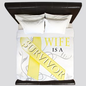My Wife is a Survivor (yellow) King Duvet
