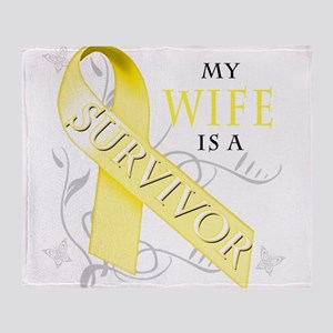 My Wife is a Survivor (yellow) Throw Blanket