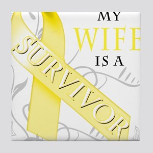 My Wife is a Survivor (yellow) Tile Coaster