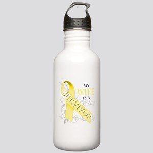 My Wife is a Survivor (yellow) Water Bottle