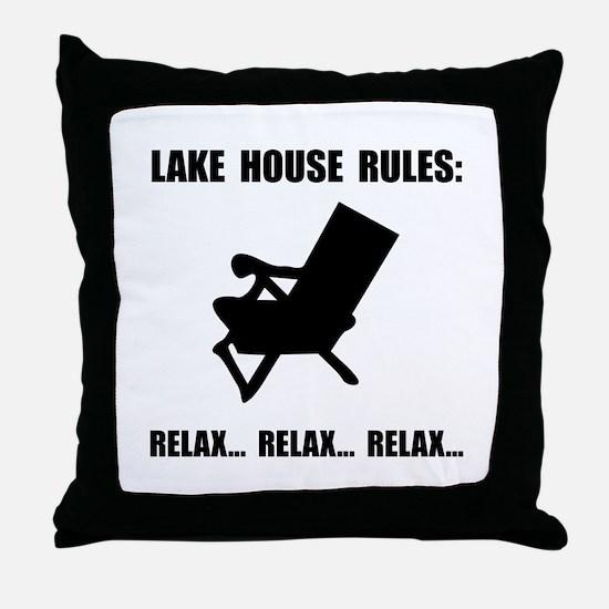 Lake House Rules Throw Pillow