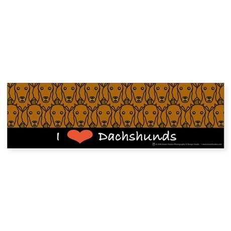 I Love Long-Haired Dachshunds Bumper Sticker