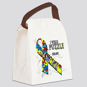 I Wear A Puzzle for my Sister Canvas Lunch Bag