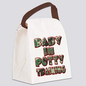 baby in potty training (green) Canvas Lunch Ba