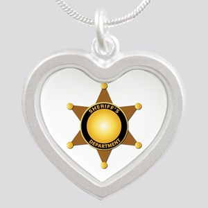 Sheriff's Department Badge Silver Heart Necklace