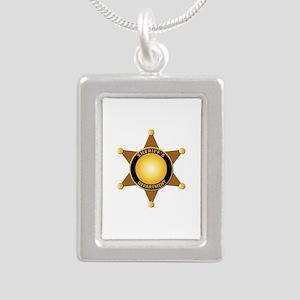 Sheriff's Department Badge Silver Portrait Necklac