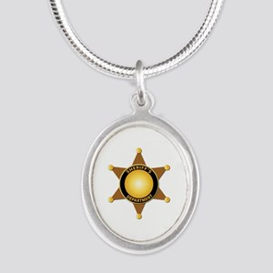 Sheriff's Department Badge Silver Oval Necklace