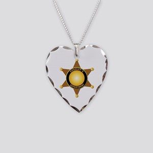 Sheriff's Department Badge Necklace Heart Charm