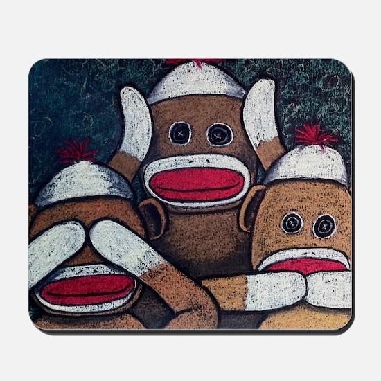 See No Evil Sock Monkeys Mousepad