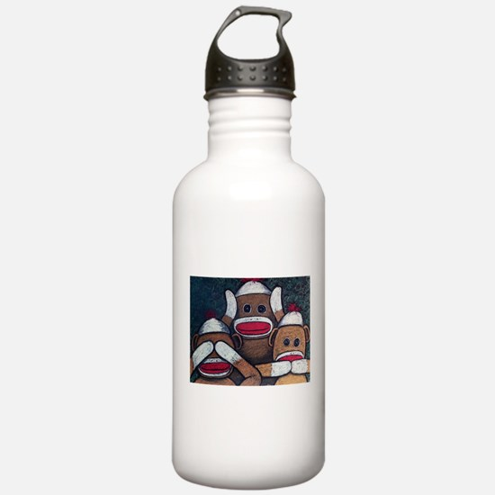 See No Evil Sock Monkeys Water Bottle