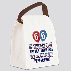 66 year Old Birthday Designs Canvas Lunch Bag
