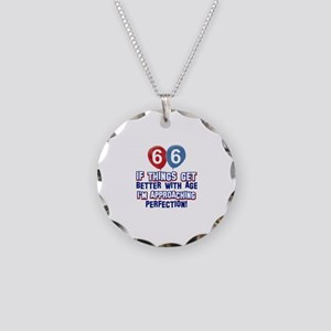 66 year Old Birthday Designs Necklace Circle Charm