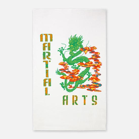 Martial Arts Smoke Fire Dragon 3'x5' Area Rug